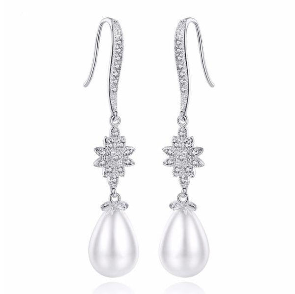 Olivia Pearl and Cubic zirconia earrings-pearl earrings-Starlet Jewellery
