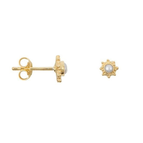 Oorbellen | Parel studs antique Goud - Papita.nl