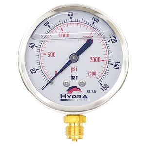"Hydra Part 100mm Glycerine Hydraulic Pressure Gauge 0-2300 Psi (160 Bar) 1/2"" Bottom Entry - Approved Hydraulics"