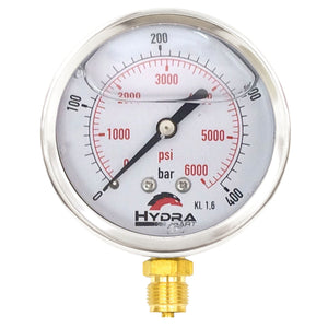 "Hydra Part 100mm Glycerine Hydraulic Pressure Gauge 0-6000 Psi (400 Bar) 1/2"" Bottom Entry - Approved Hydraulics"