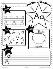 FREE Letter A Worksheet: Tracing, Coloring, Writing & More!
