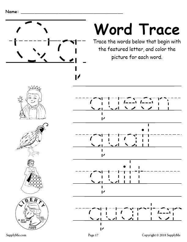 Letter Q Words - FREE Alphabet Tracing Worksheet