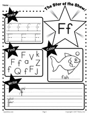FREE Letter F Worksheet: Tracing, Coloring, Writing & More!