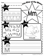 FREE Letter M Worksheet: Tracing, Coloring, Writing & More!