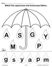 FREE Raindrop Letter Case Matching Worksheets A-Z!