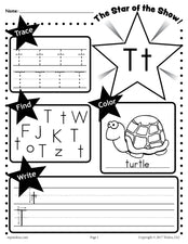 FREE Letter T Worksheet: Tracing, Coloring, Writing & More!
