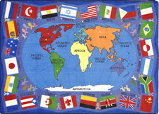 "Flags of the World© Classroom Rug, 7'8"" x 10'9"" Rectangle"
