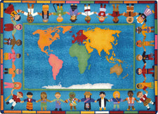 "Hands Around the World© Classroom Rug, 7'8"" x 10'9"" Rectangle"