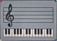 "Play Along© Classroom Rug, 7'8"" x 10'9"" Rectangle Gray w/ keys"