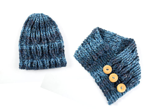 Cable Hat & Cowl Set by Zoë Potrac in James C. Brett Mojo Magic Chunky
