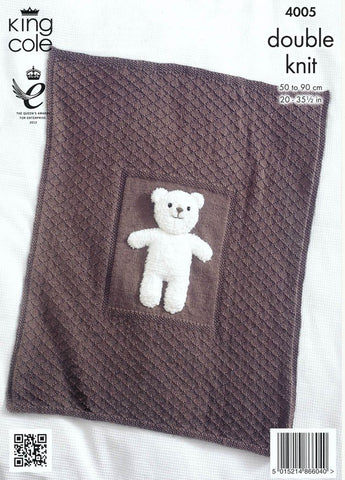 Baby Blankets and Teddy Bear Toy in King Cole DK (4005)-Deramores