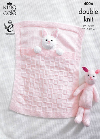 Baby Blankets and Bunny Rabbit Toy in King Cole DK (4006)-Deramores