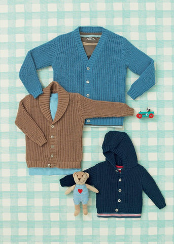 Babies and Boys Cardigans in Sirdar Snuggly 4 Ply (4640)-Deramores