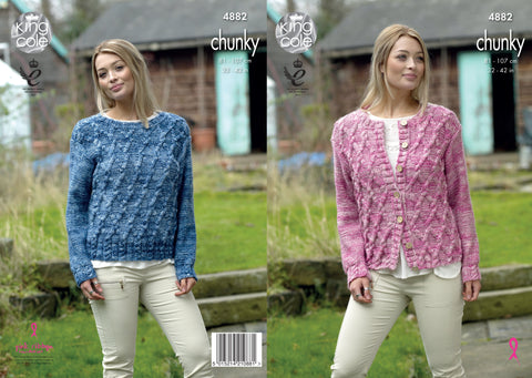 Sweater & Cardigan Knitted In King Cole Big Value Tonal Chunky (4882)