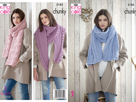 Shawls in King Cole Timeless Chunky (5183)