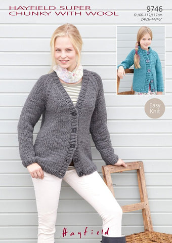 Raglan Cardigans in Hayfield Super Chunky With Wool (9746)
