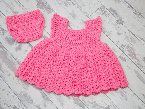 Blossom Shell Dress & Nappy Cover in Deramores Studio Baby DK