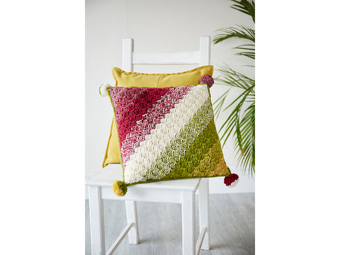 Colour Blend C2C Cushion by Sarah Shrimpton in Stylecraft Bellissima DK