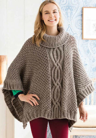 Cabled Poncho in Deramores Studio Chunky by Amy Micallef
