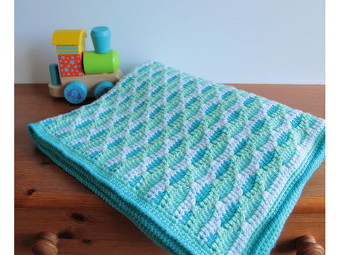 Sea Ripple Baby Blanket by Veronika Cromwell in Deramores Studio Baby DK