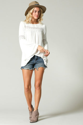 """Ole Chapel Of Love"" Ivory Bell Sleeve Crochet Trim Top"