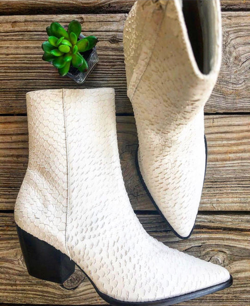 "Matisse ""Caty"" White Textured Leather Python Mid Calf Bootie"