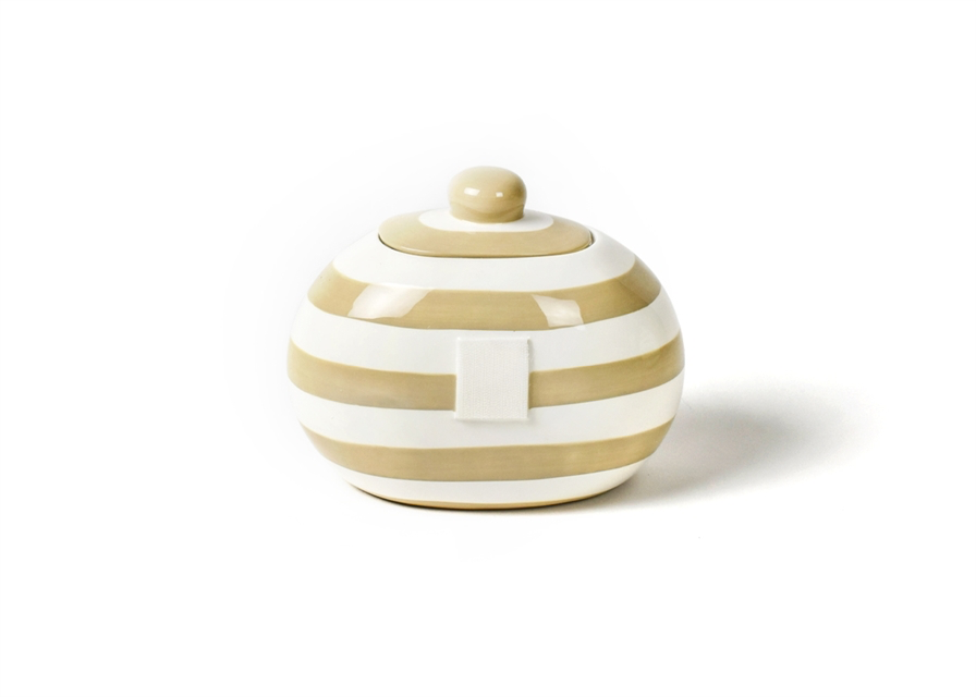 HAPPY EVERYTHING NEUTRAL STRIPE MINI COOKIE JAR, Happy Everything - A. Dodson's