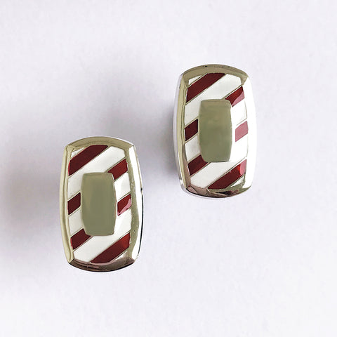 Southern Gentleman Crimson and White Engravable Cuff Link