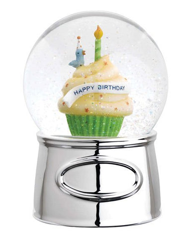 Happy Birthday Silverplate Waterglobe