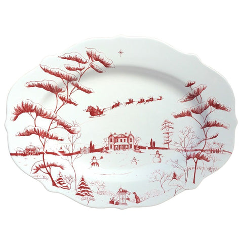 Country Estate Winter Frolic Ruby Oval Platter