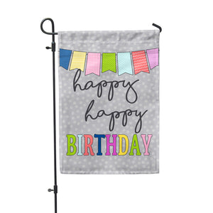 "Happy Birthday Grey Garden Flag 12"" x 18"" - Double Sided - Second East"
