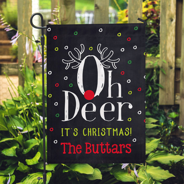 "Personalized Garden Flag - Oh Deer Custom Flag - 12"" x 18"" - Second East"