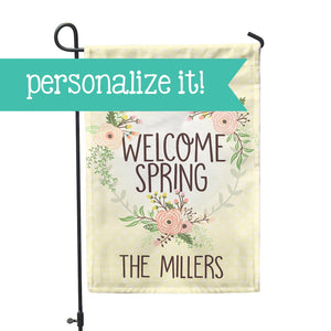 "Personalized Garden Flag - Welcome Spring Custom Home Flag - 12"" x 18"" - Second East"