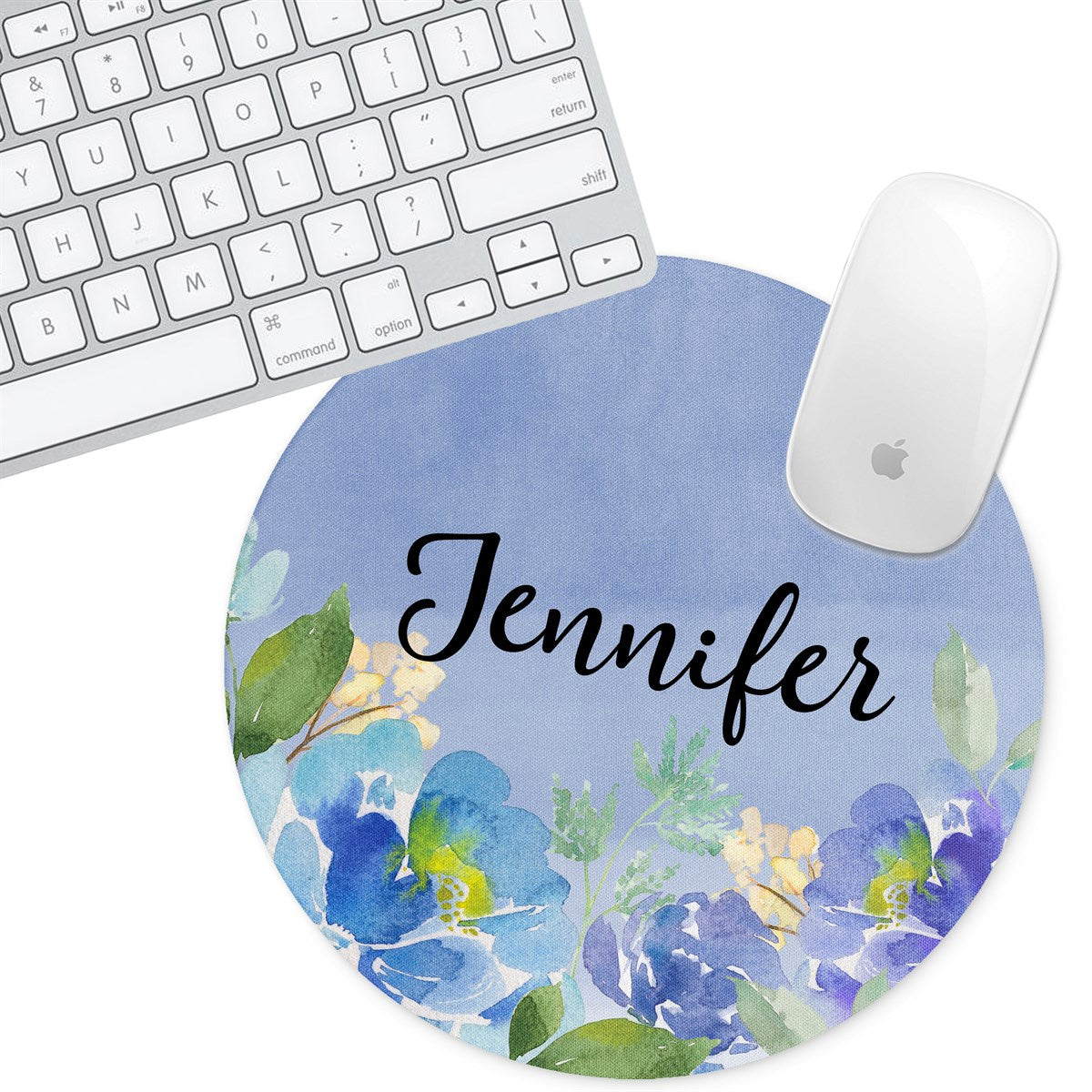 Personalized Round Mouse Pad - Floral Jennifer - Second East