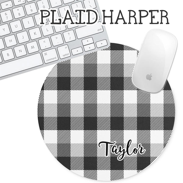 Personalized Round Mouse Pad - Plaid Harper - Second East