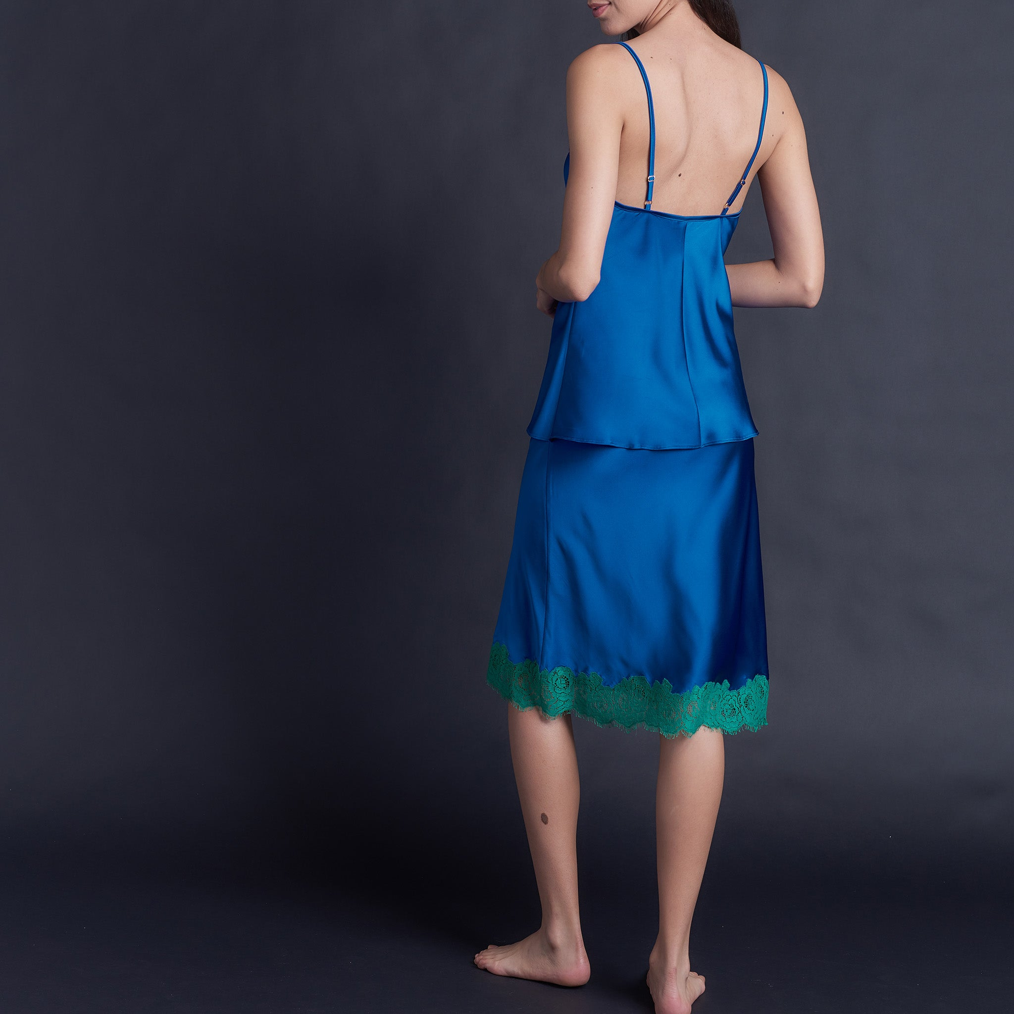 Bias Camisole in Tanzanite Stretch Silk Charmeuse