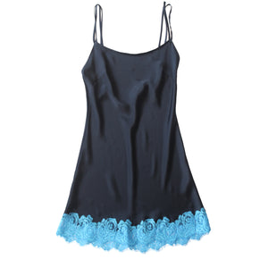 Venus Slip in Sapphire Silk Charmeuse and Turquoise Lace