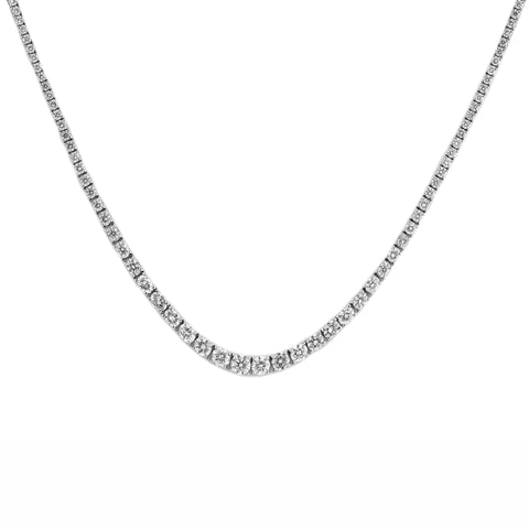 9.45tcw Graduated Round Diamonds in 18K White Gold Tennis Necklace 16.5""