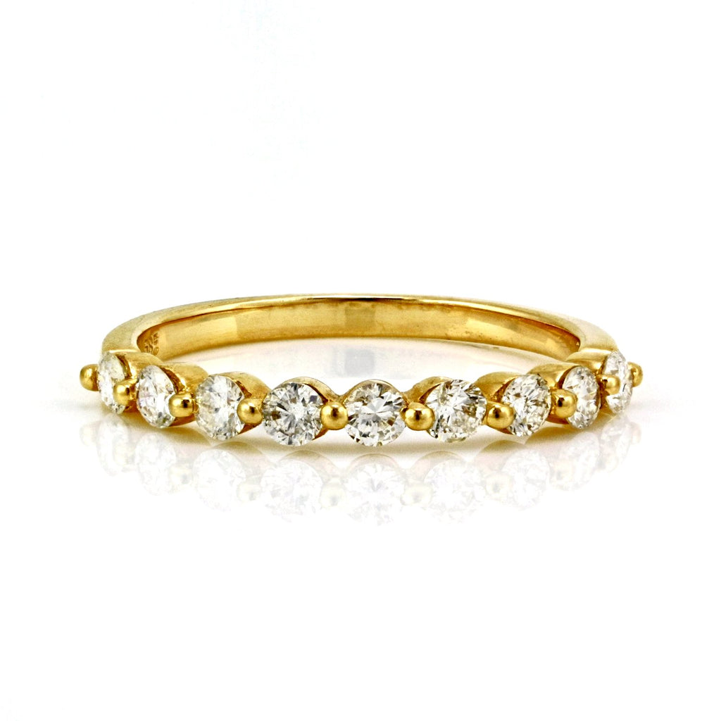 0.62ct Pavé Diamond in 14K Gold Single Prong Half Eternity Band