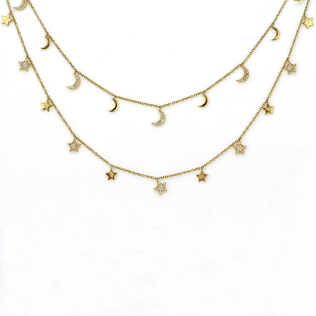 0.80ct Micro Pavé Diamonds in 14K Gold Star & Crescent Moon Charm Opera Necklace 32""