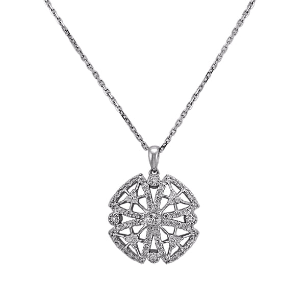 0.36ct Diamonds in 14K White Gold Medieval Floral Cross Pendant Necklace 16""