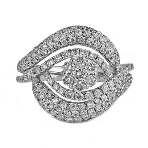 1.40ct Round Diamond in 14K White Gold Floral Anniversary Ring