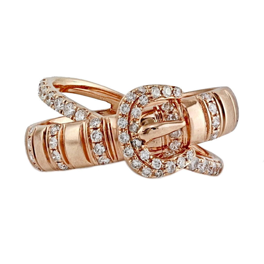 0.49ct Round Diamonds in 14K Gold Belt Buckle Band Ring