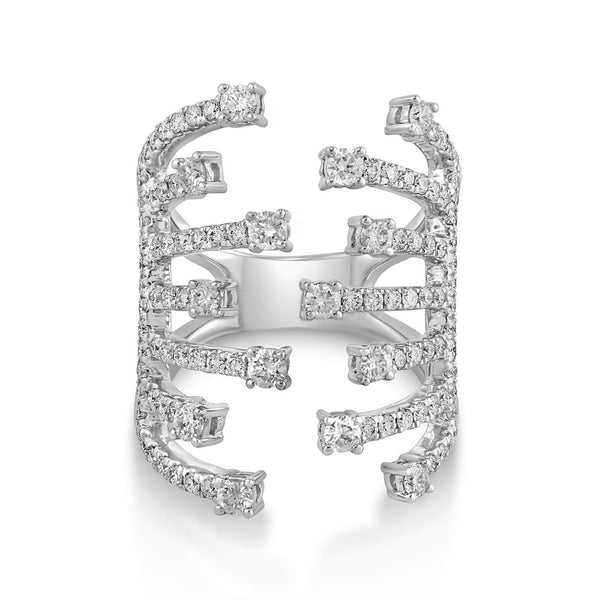 1.46ct Round Diamonds in 14K White Gold Claw Cuff Ring