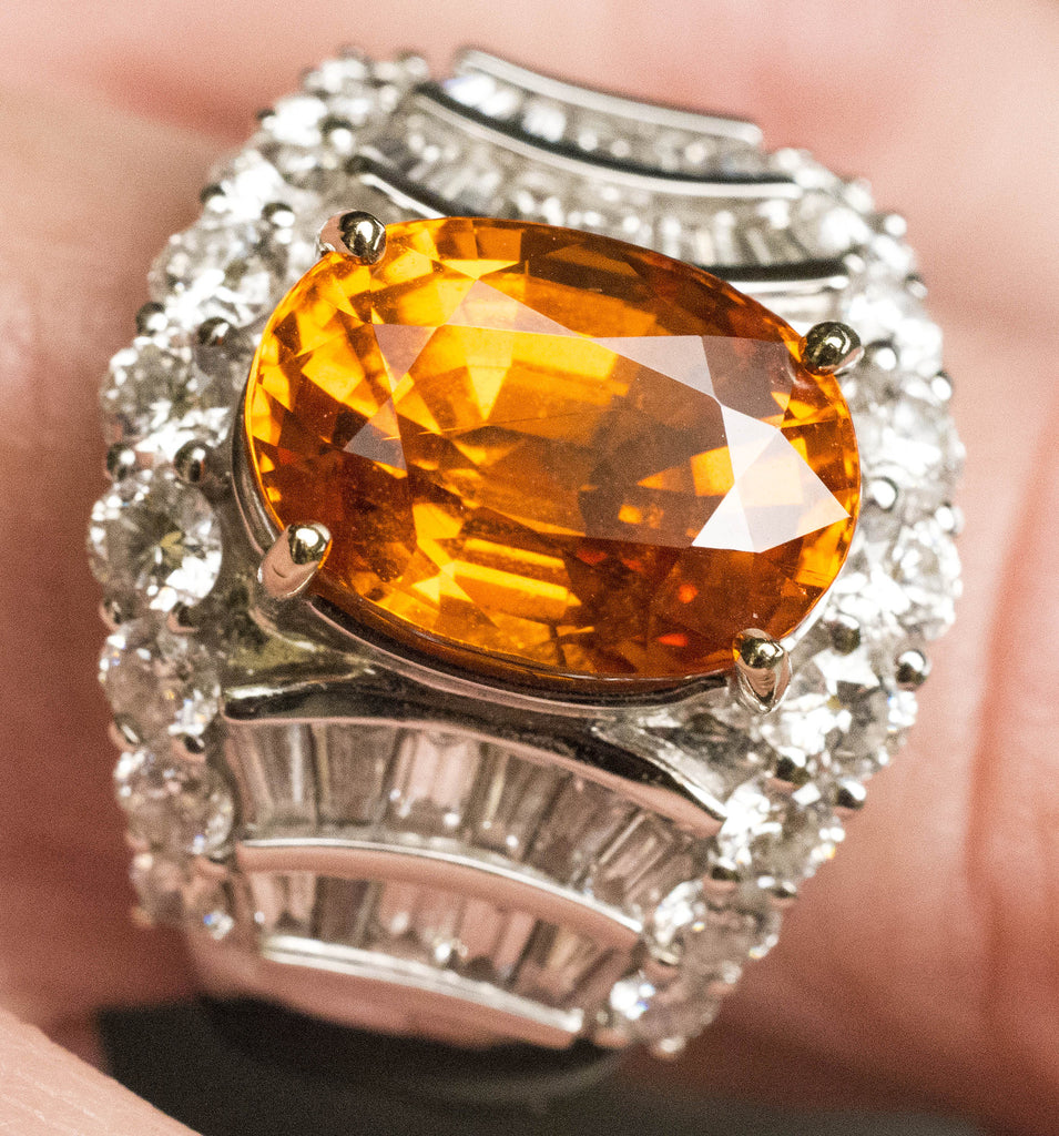 One Lady's Important Spessaritite and Diamond Ring