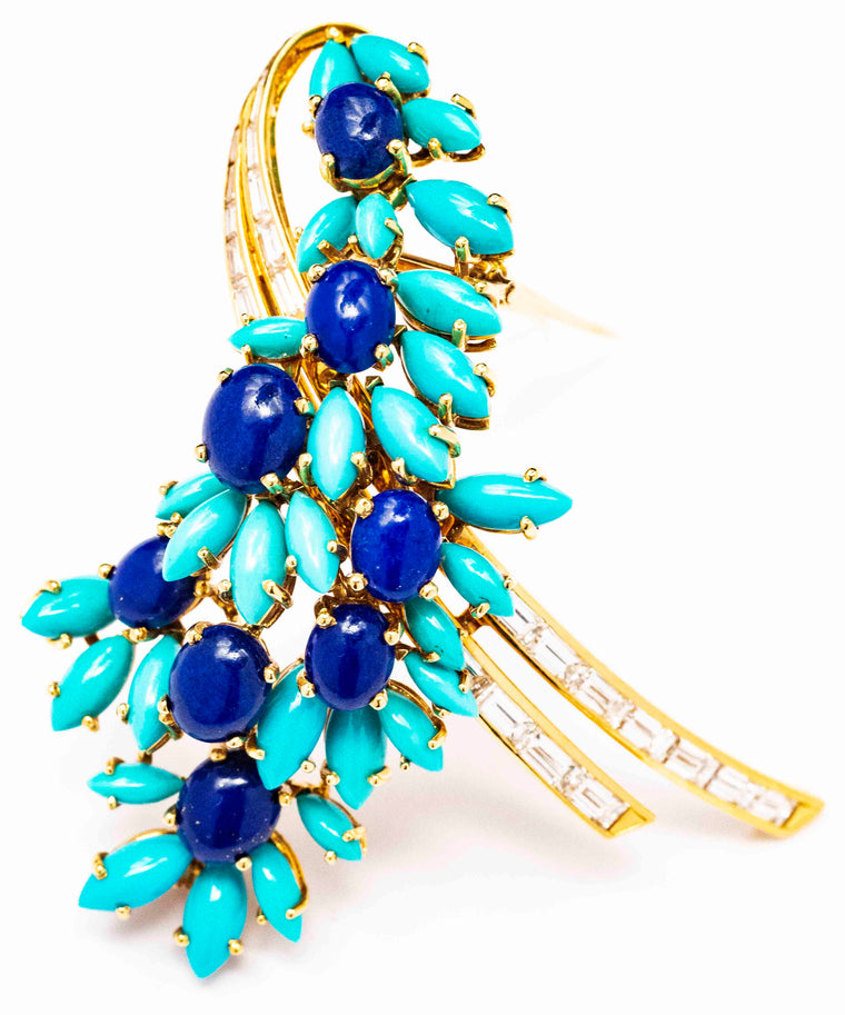 18kt French 1950's-1960's Turquoise, Lapis Lazuli and Diamond Spray Brooch