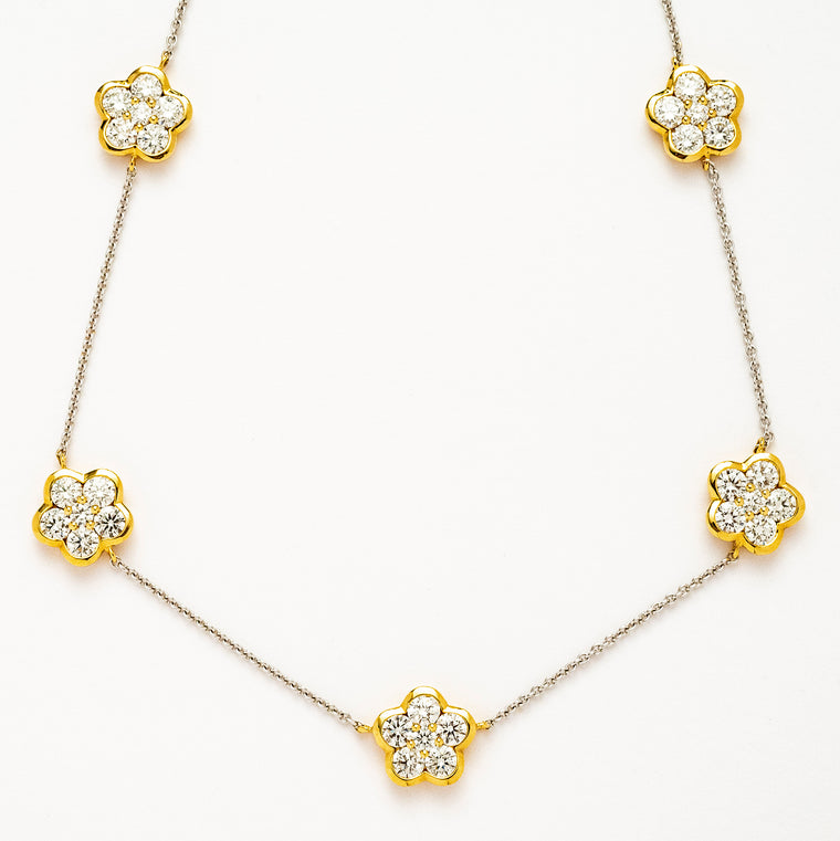18kt White and Yellow Gold Diamond Flower Necklace