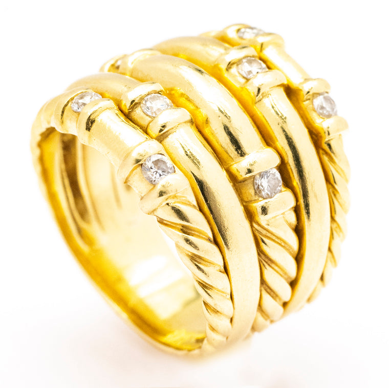 David Yurman 18kt Yellow Gold Stack Ring