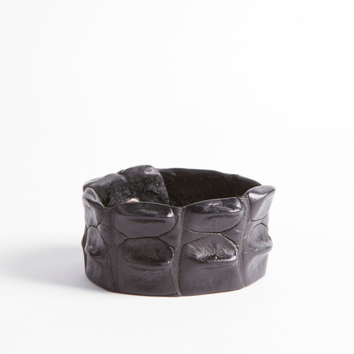 Chunky Crocodile Leather Wristband