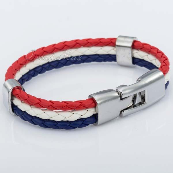 Norwegian Flag Leather Bracelet [one size] - Nation Love